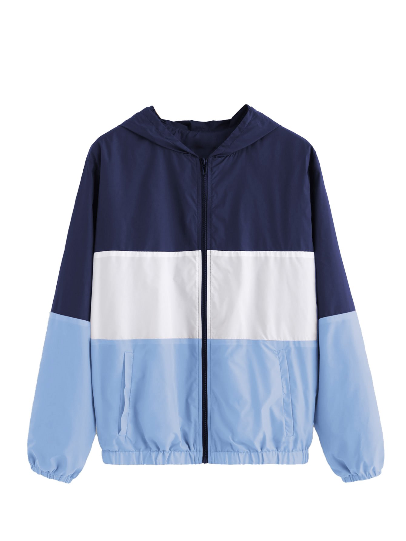 SweatyRocks Women's Casual Jackets Lightweight Hooded Windbreaker Outdoor Hiking Color Block S