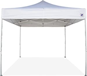 E-Z UP Event Shelter Canopy, Straight Leg 10' x 10' with 4 Walls and Rolling Storage Bag, White