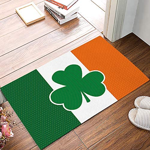 Entrance Way Door Mats Bath Mats Welcome Rugs St. Patrick s Day Irish Flag with Lucky Clover Printed Indoor Mat Rubber Backing Floor Mat for Kitchen Bedroom Office 20×31.5inch