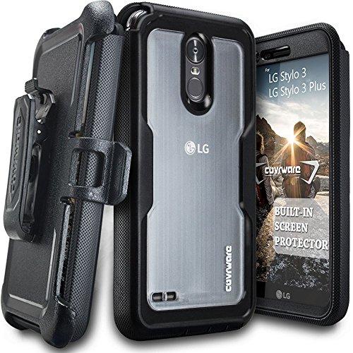 LG Stylo 3 / Stylo 3 Plus / LS777 Case, COVRWARE [Speedy Series] Built-in [Screen Protector] Full Body Rugged Holster Armor Case [Belt Swivel Clip][Kickstand], Black