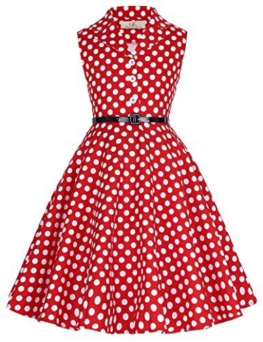 GRACE KARIN Girls Retro Sleeveless Floral Printed Swing Dresses with Belt