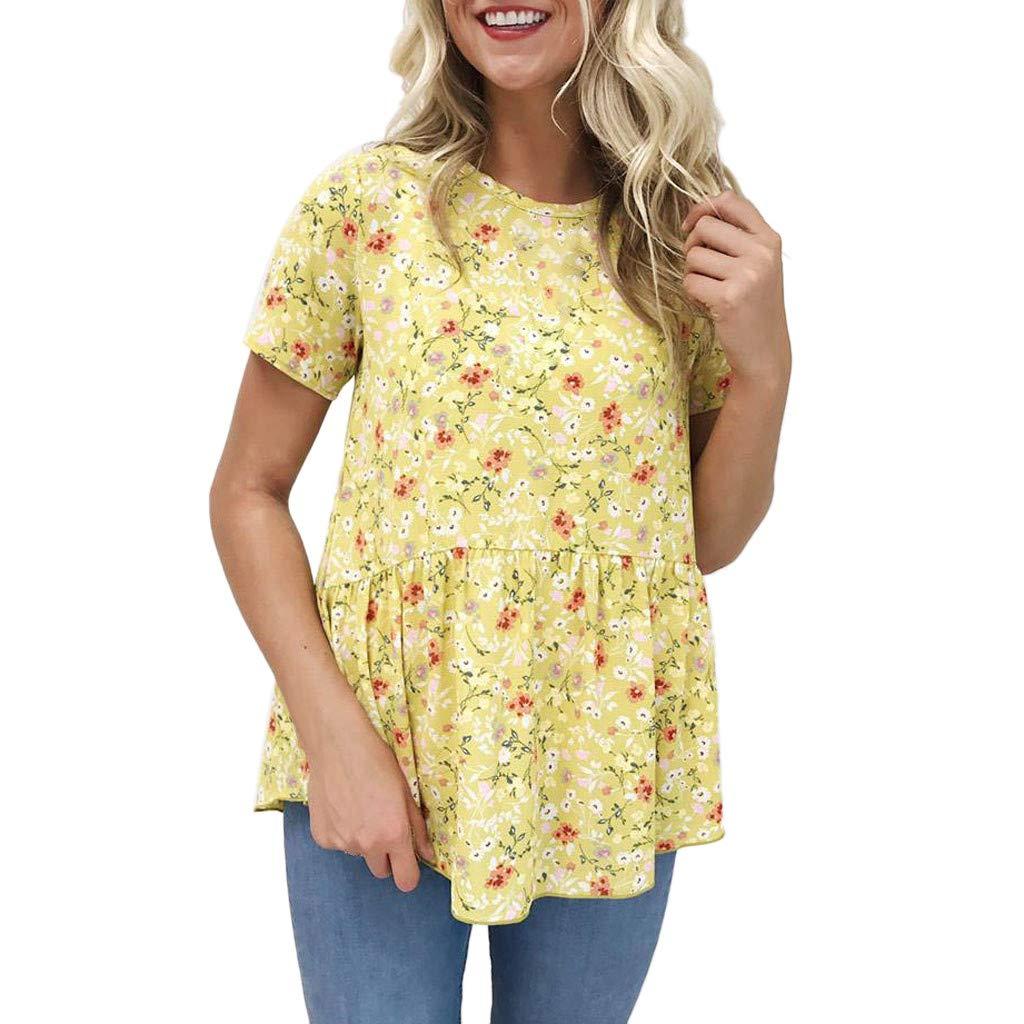 Camisetas Verano De Mujer♥ , Modaworld Chaleco Flojo Impresió n Floral De Las Mujeres Blusa De Manga Corta Verano De Las Mujeres Superior De La Blusa Camisetas Casuales