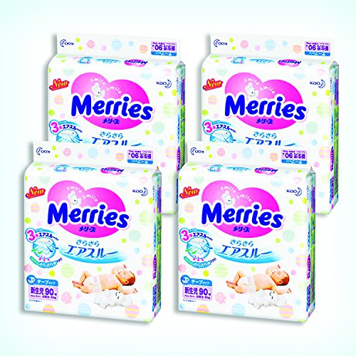 Merries Diapers newborn (Birthday ~ 5kg) free-flowing air through 360 sheets (90 sheets × 4) by Merries