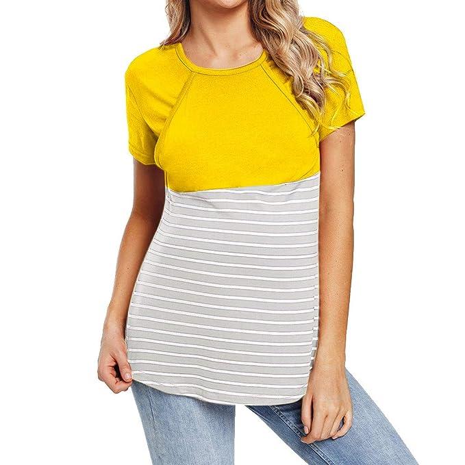 3c7258466 OHQ Camiseta De Mujeres Ropa para La Lactancia De Maternidad De Raya para  Mujeres Las Mujeres