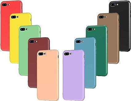 VGUARD 10x Custodia Cover per iPhone 8 Plus / 7 Plus, Sottile Morbido TPU Silicone Custodie Gel Case (Nero, Verde Scuro, Verde Chiaro, Blu, Arancione, ...