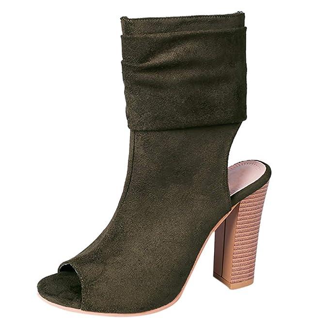 LILICAT ✈✈ 2019 Moda para Mujer Cuadrados Tacón Alto Boca de Pescado Rebaño Zapatos Romanos Sandalias Boca de Pescado de Color sólido Zapatos de tacón ...
