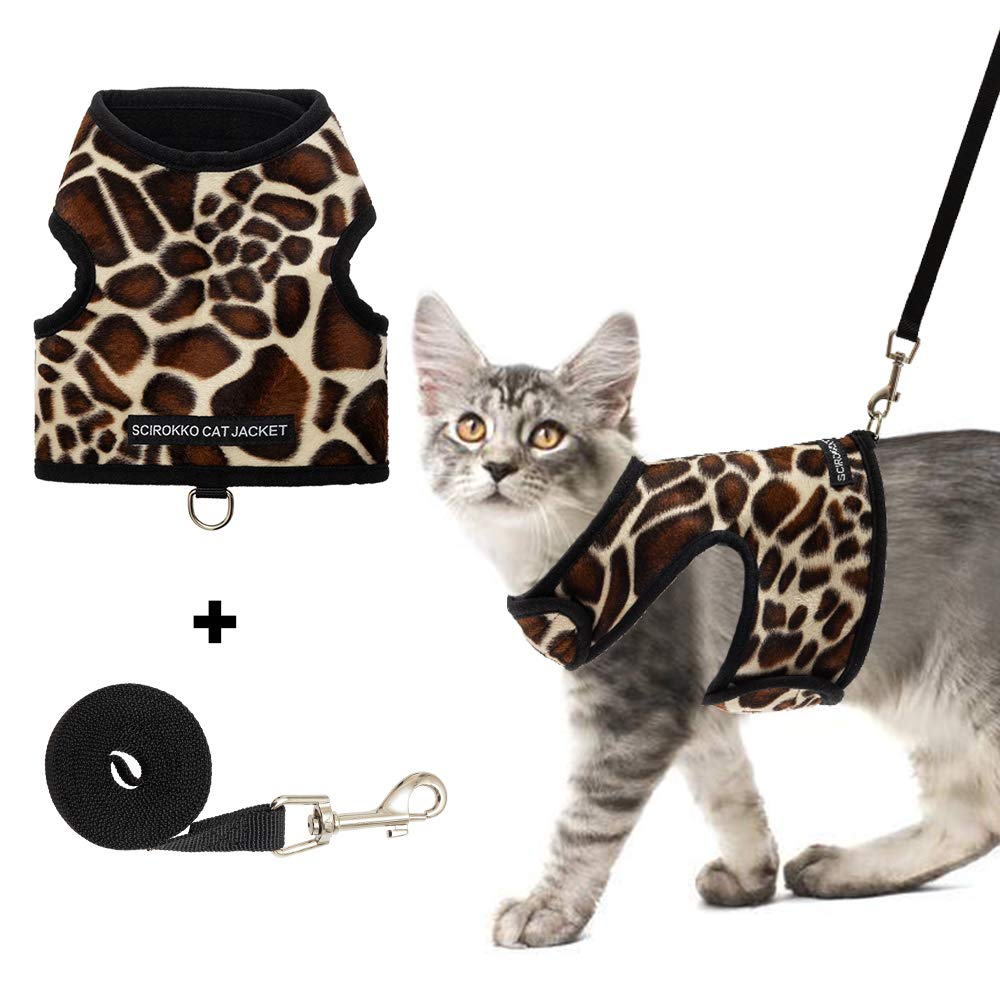 SCIROKKO Cat Harness and Leash Set – Escape Proof Adjustable for Outdoor Walking Jacket with Safety Buckle, Leopard…