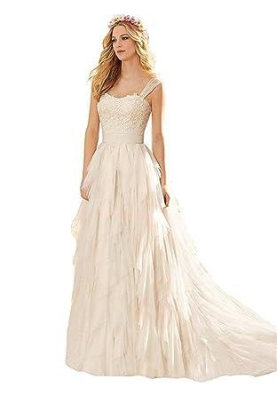 Fanciest Women S Straps Lace Wedding Dresses For Bride 2017 Boho