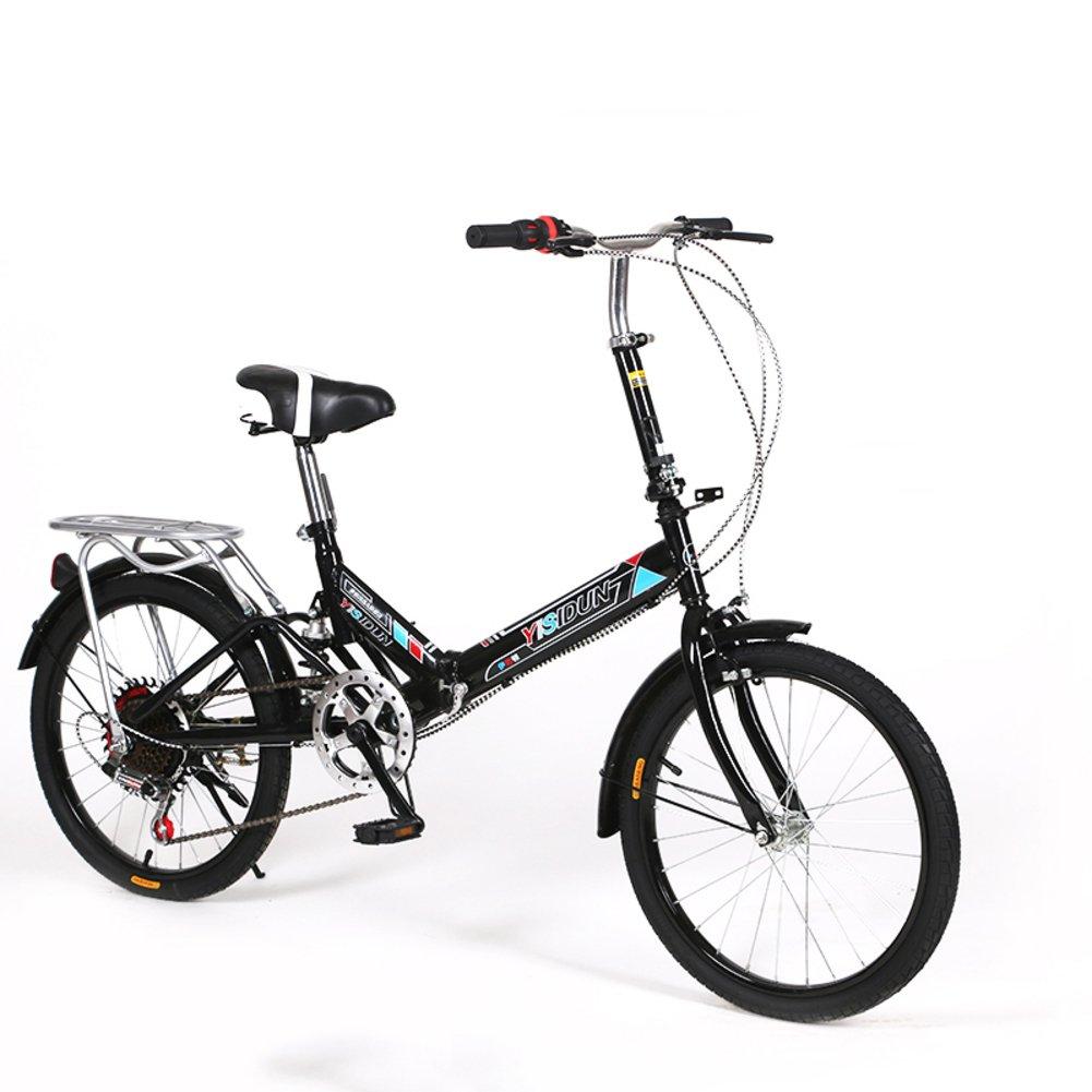 女性 折りたたみ自転車, 大人 折りたたみ自転車 女性自転車 6 速 シマノ 男女 スタイル 学生の車 折りたたみ自転車 B07D2BNG22 20inch|黒 黒 20inch