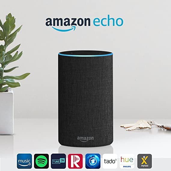 Amazon Echo (2. Gen.), Intelligenter Lautsprecher mit Alexa, Anthrazit Stoff