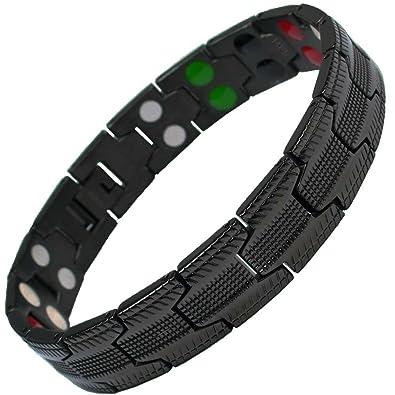 11b794e15cc MPS® 5 bioéléments Titane Bracelet magnétique avec Boucle déployante et des  aimants puissants
