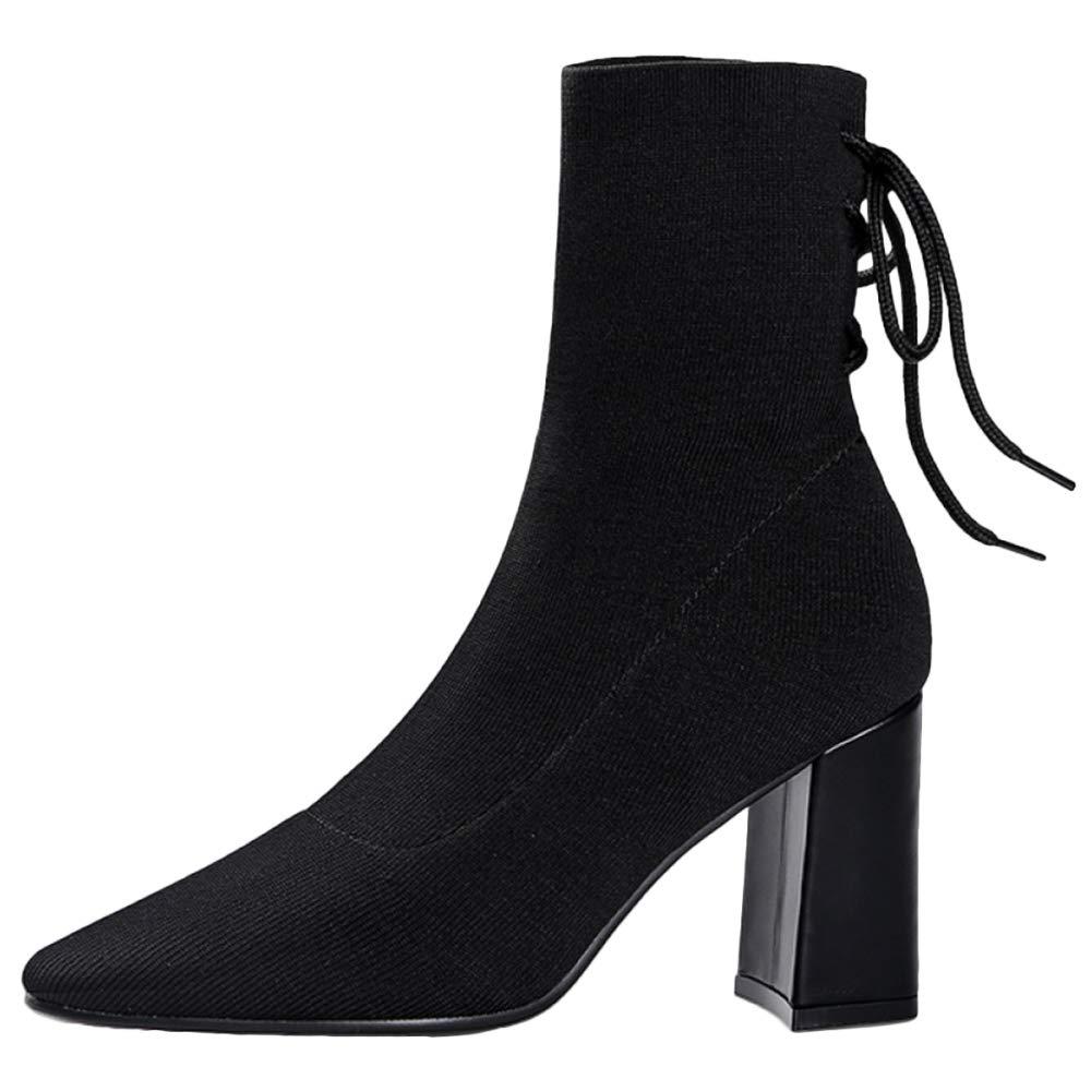 Frauen Stiefelies Stiefeletten Chunky Mid Mid Mid Heel Elastische Spitzen Stiefel Knight Martin Stiefel Damen Schuhe Schnürstiefel 94302c