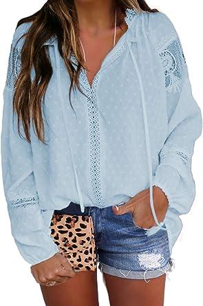 LOSRLY Blusa de encaje de punto suizo blanco con borla de ...