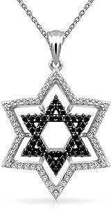 Two Tone Black White Pave Cubic Zirconia CZ Judaic Magen Jewish Hanukkah Star Of David Pendant Necklace For Women 925 Sterling Silver
