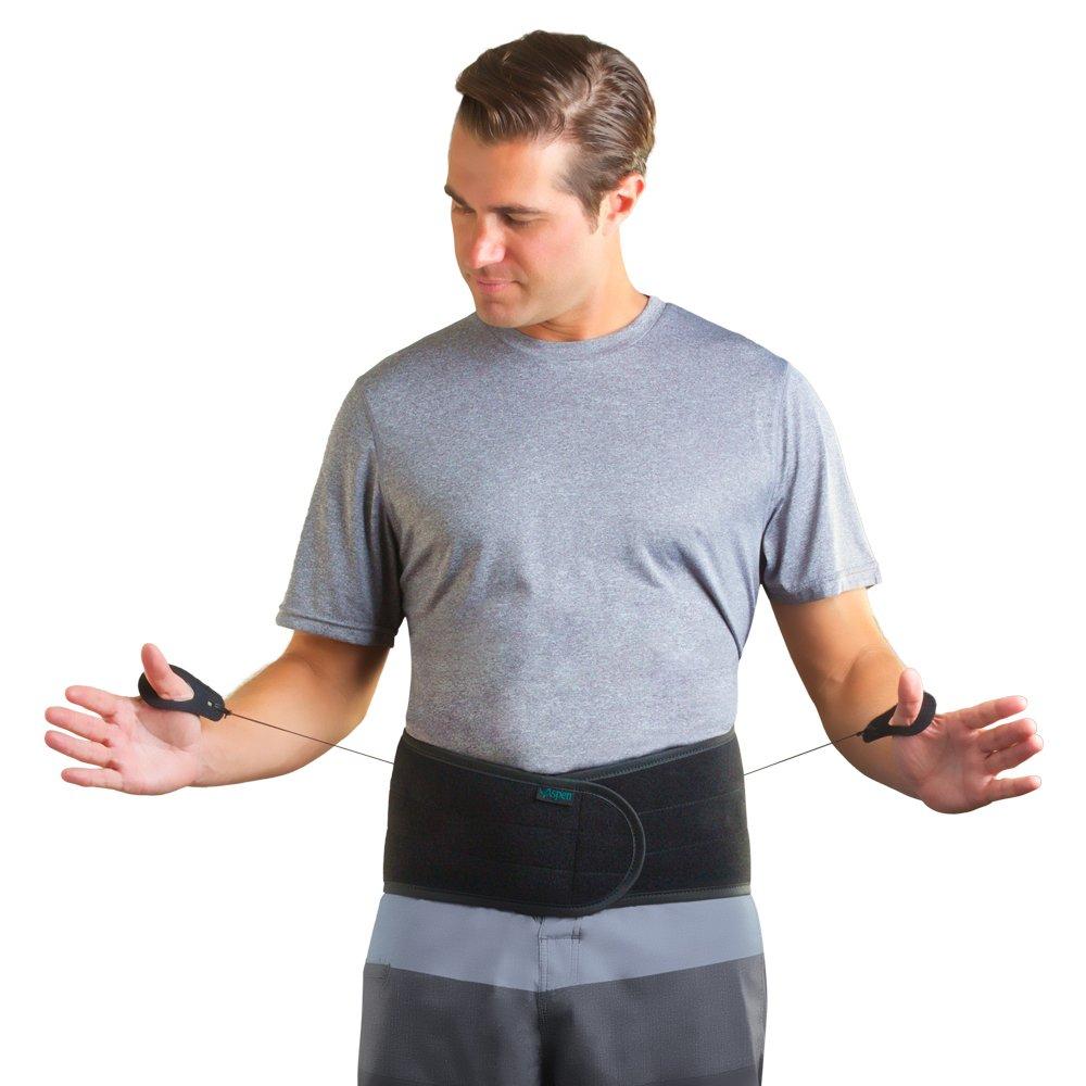 Aspen Lumbar Support Back Brace, Black Large (31-37 inches) Waist
