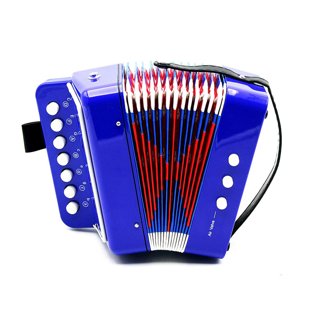 MG.QING Children's Accordion 7-Button 2 Bass Toy Accordion Puzzle Play Practice The Accordion for Children,Blue