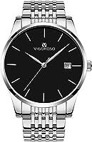 VIGOROSO Men's Fashion Ultra Thin Watches Stainless Steel Sport Quartz Analog Date Hours Wrist Watch