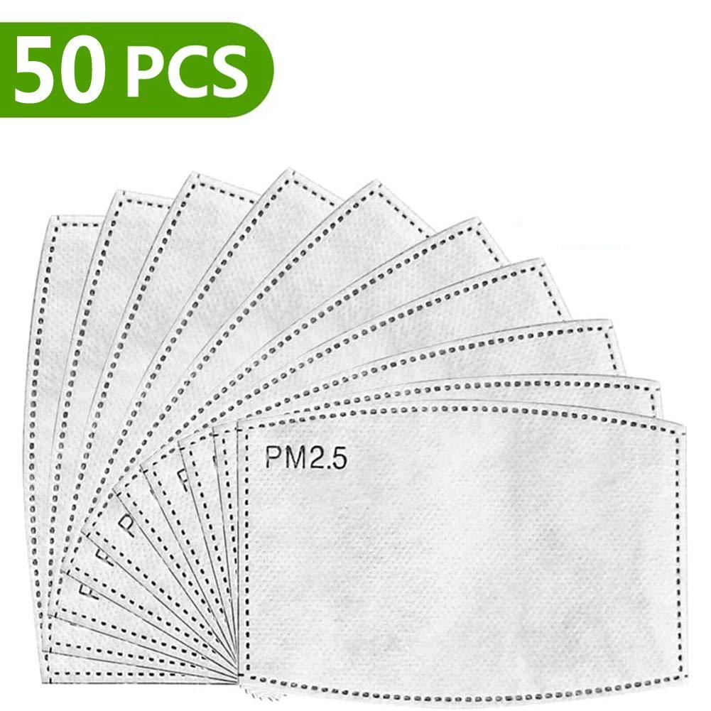 50 PCS PM2.5, filtro de carbón activado protector de 5 capas reemplazable, papel de filtro externo antivaho, antivaho, antibacteriano, a prueba de polvo, filtro de máscara.