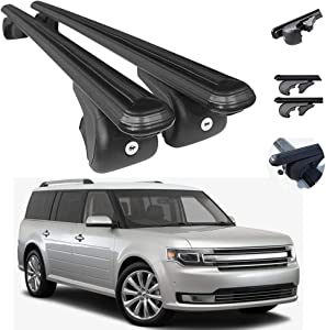 Roof Rack Cross Bars Lockable Luggage Carrier | Compatible with Ford Flex 2009-2019 | Aluminum Black Cargo Carrier Rooftop Luggage Bars 2 PCS