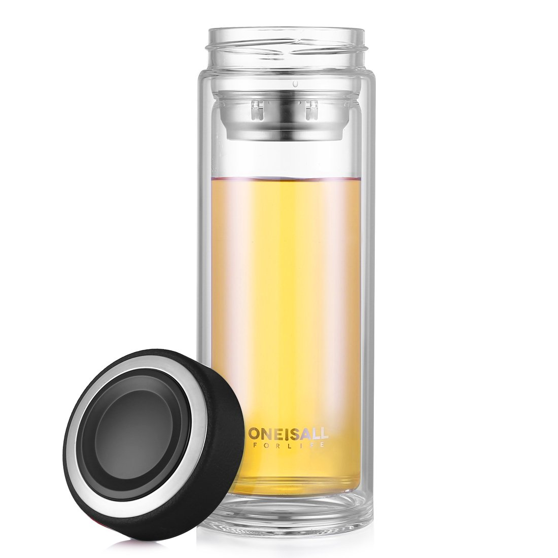Amazon.com: oneisall 500 Milliliter Double Wall Glass Tea Tumbler ...