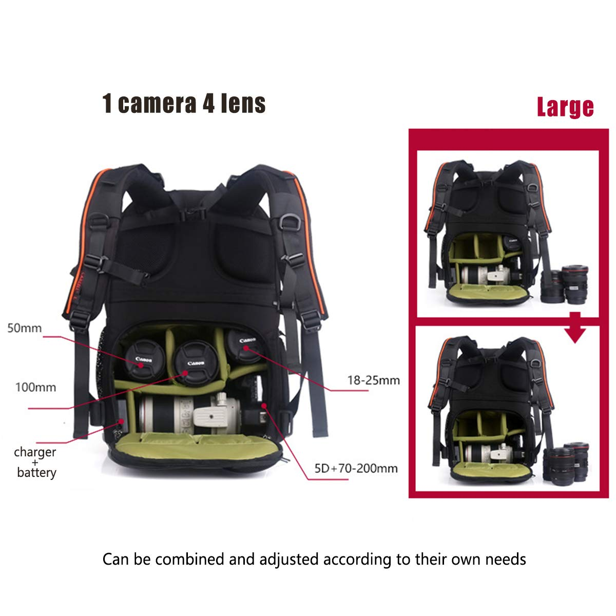 Mens and Womens Large Capacity Anti-theft Camera Bag Camera Rucksack for Tripods and Laptops Professional waterproof SLR Camera Backpack Green Interior Orange-S