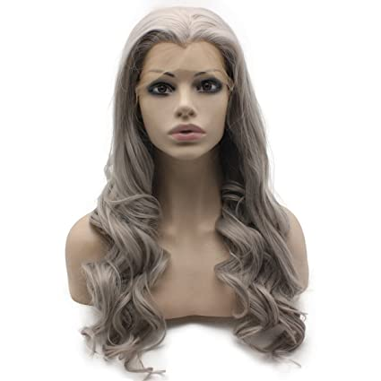 Larga gris ondulado calor Friendly Cable de pelo natural LACE Front Peluca