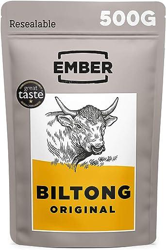 Ember Biltong - Beef Jerky - Cecina de Vaca - Aperitivo alto en Proteinas - Original (1x500g)