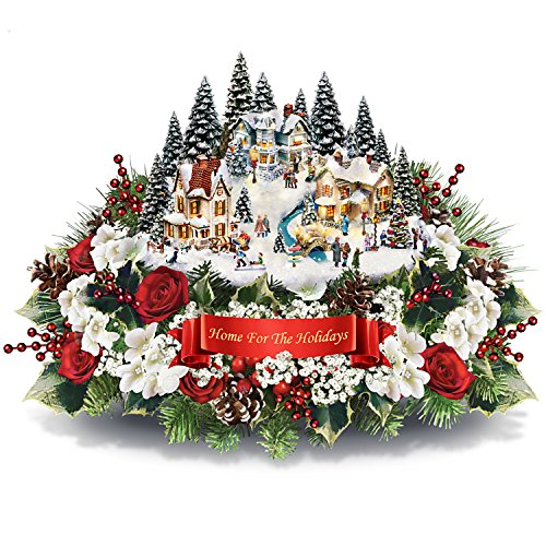 Thomas Kinkade Floral Centerpiece with Lighted Village Sculpture and Music by The Bradford Exchange