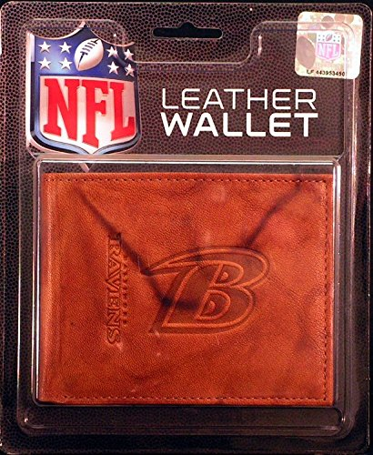 Baltimore Ravens Brown Leather - Rico Industries NFL Baltimore Ravens Embossed Leather Billfold Wallet with Man Made Interior, 3.5, Brown