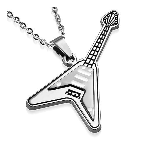 2 color guitarra eléctrica instrumento musical encanto colgante: Amazon.es: Joyería