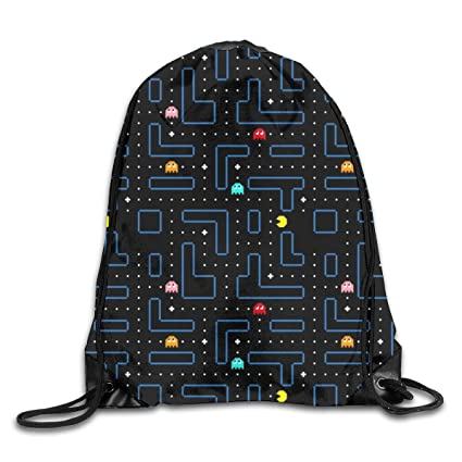 bc422ce64082 Amazon.com | Pacman Retro Arcade pattern Drawstring Backpack ...