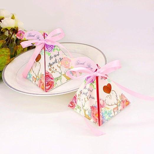 JZK 50 Cajas triángulo Floral corazón Rosa Cajas Favor Boda con ...