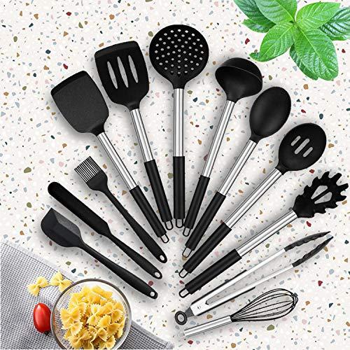 Set di Utensili Cucina Silicone, 24 Pezzi Set Utensili da Cucina in Silicone, Set di utensili da cucina antiaderenti per utensili da cucina Spatola per cucchiaio Spatola per cucchiaio Frusta Misurino