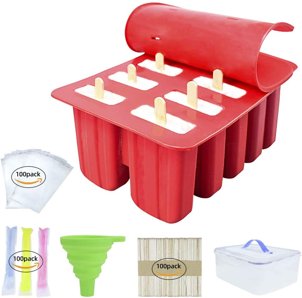 R LRUI Popsicle Molds 10cavities Food Grade Silicone Ice Pop Molds Set With 100Pcs Disposable Ice Popsicle Mold Bags,100Pcs Popsicle Bags& 100Pcs Ice Cream Sticks,Funnel & Food Storage