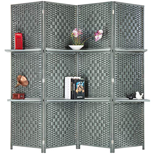 - MyGift 6-Foot Gray Bamboo Woven 4-Panel Room Divider with 2 Shelves