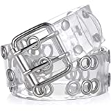 Goowail Two Row Grommets Belts for Women Double Pin Buckle PVC Material Strap