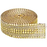 "TtoyouU 2.2"" X 10 Yards (30 Feet) Mesh Wrap Rhinestone Diamonds Ribbon Roll,8 Rows,Wedding, Party Decorations,Craft Supplies (Full Gold)"