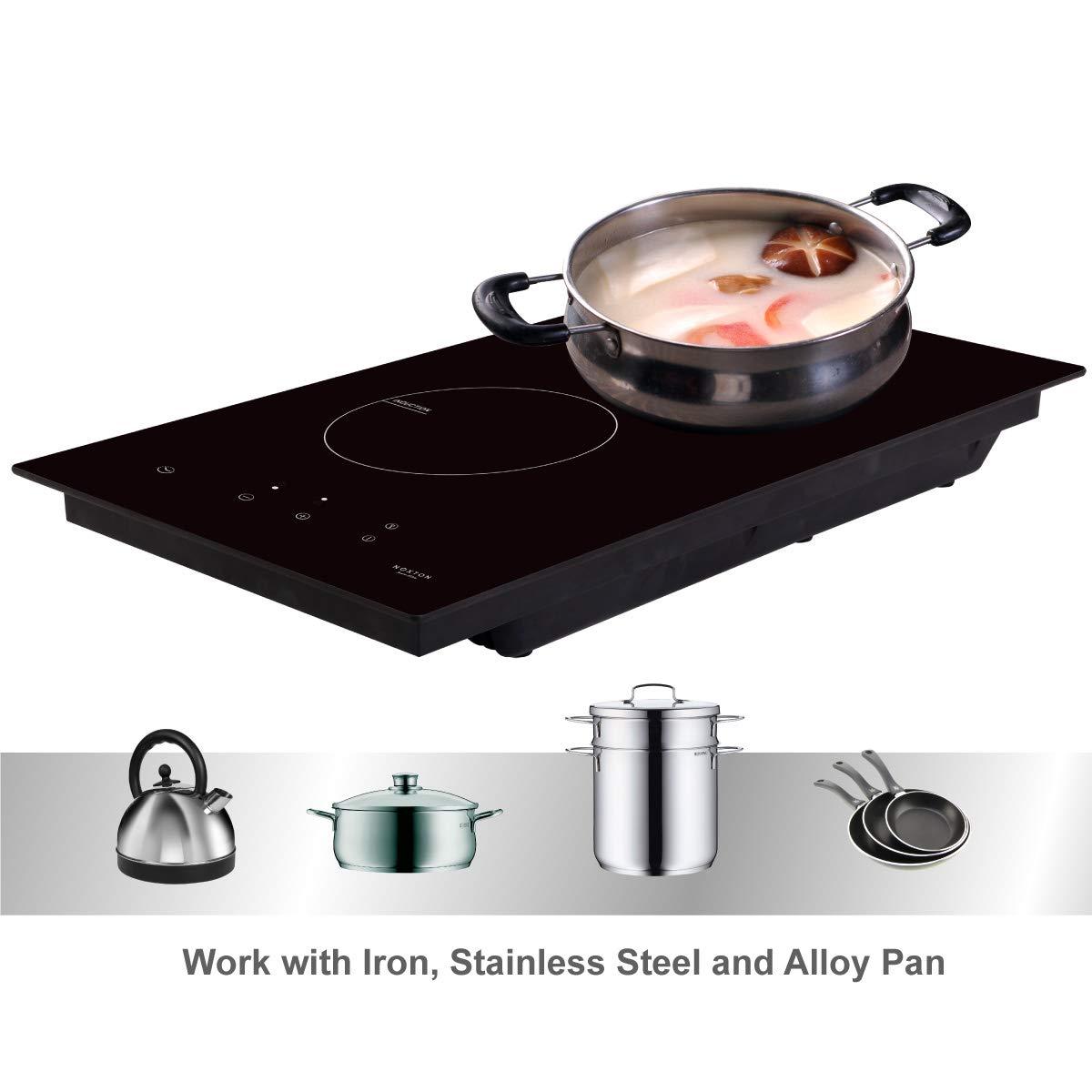 NOXTON Placas de Inducción Vidrio Negro Cocina eléctrica integrada de 2 Fuegos Domino con Control táctil del Sensor