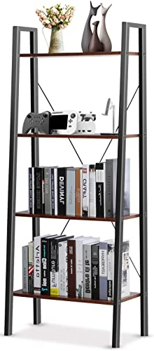 Pipishell Industrial Ladder Shelf, 4-Tier Bookshelf, Free Standing Bookcase Storage Rack Shelves Plant Flower Stand with Wood Look for Living Room, Bedroom, Kitchen, Bathroom, Home Office, Balcony