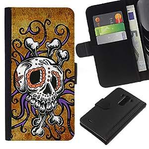 A-type (Crossbones Oro Rústico Calavera Pulpo) Colorida Impresión Funda Cuero Monedero Caja Bolsa Cubierta Caja Piel Card Slots Para LG G3