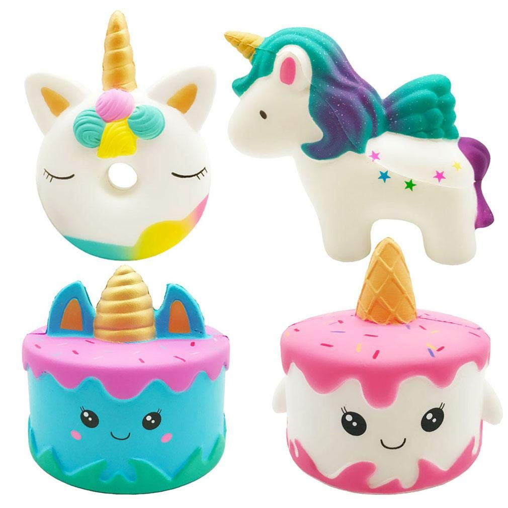 Vanely 4Pcs Slow Rising Jumbo Squishies Narwhale Cake,Uincorn Cake,Unicorn Donut,Rainbow Horse Set Cream Scented Soft Squeeze Novelty Toy Stress Relief Hop Props Sensory Toys
