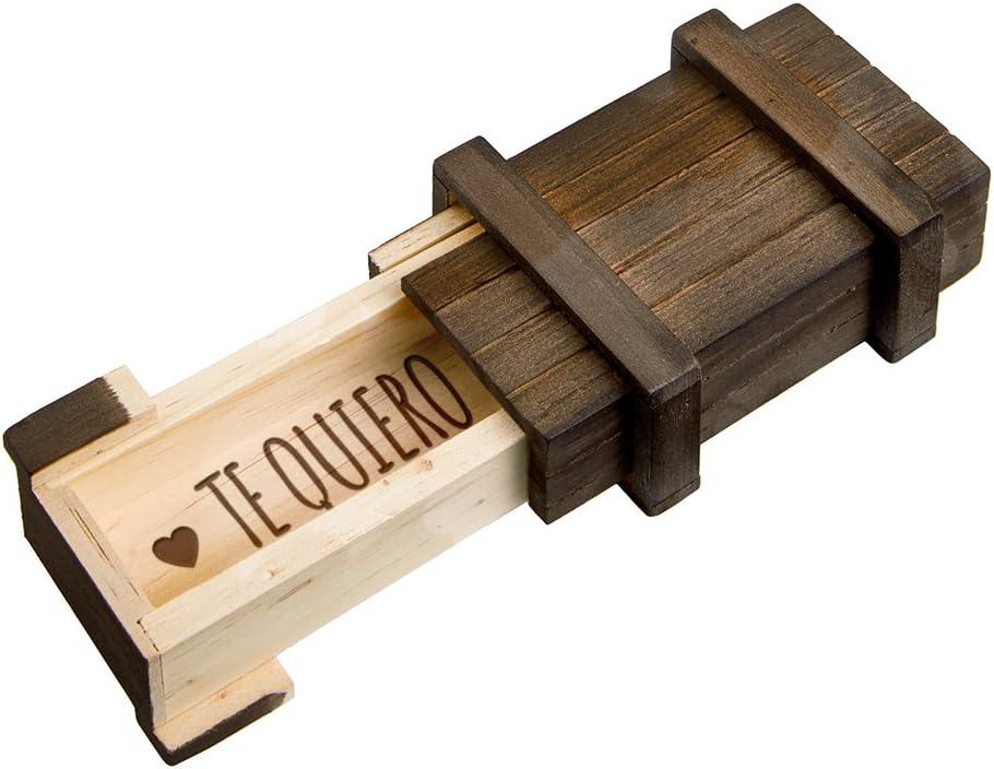 Casa Vivente Caja Regalo Mágica de Madera Oscura con Mecanismo de Cierre Secreto y Grabado Te Quiero Rompecabezas 10,5 x 6,5 x 4 cm