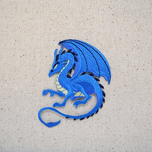 Blue Embroidered Dragon (Blue Dragon - Facing Left - Legendary/Mythical/Fantasy - Iron on Applique/Embroidered Patch)