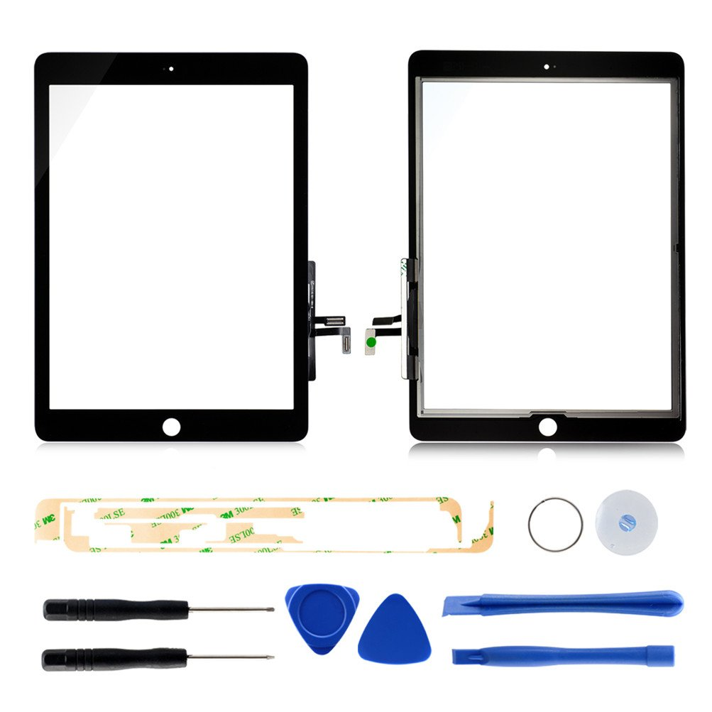 Black Touch Screen Tablet Computer Replacement Screens for Ipad Air Generation A1474 A1475(Black) with 7 Pieces Tools and Professional Adhesive by Tongyin