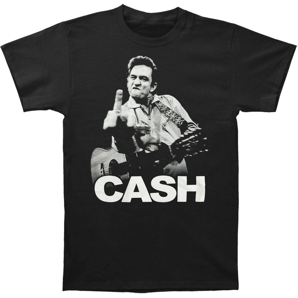 Johnny Cash Men's The Bird Slim Fit T-shirt X-Large Black