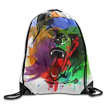 Grizzly Bear Watercolor Design Gym Drawstring Backpack ...