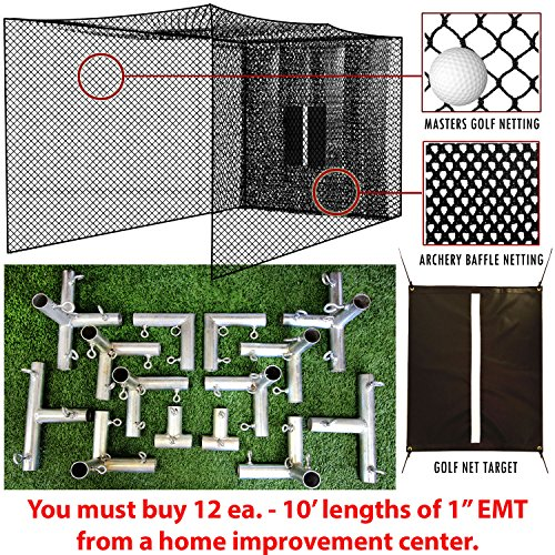 Select 20x10x10 Golf Practice Net, Baffle, and Golf Net Target with Frame Corners - 10' Poles NOT Included … -