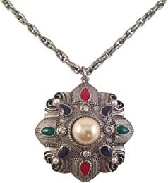 Victorian Vintage Style, Silver Tone Medallion Chain Necklace