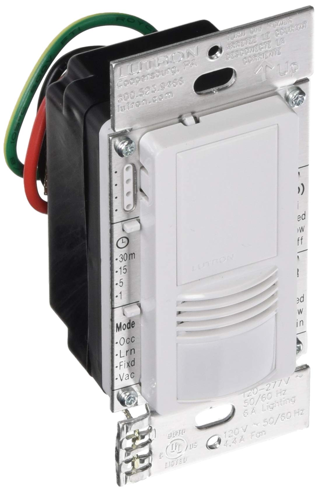 Lutron MS-A102-V-WH Passive Infrared Vacancy Sensor Switch White