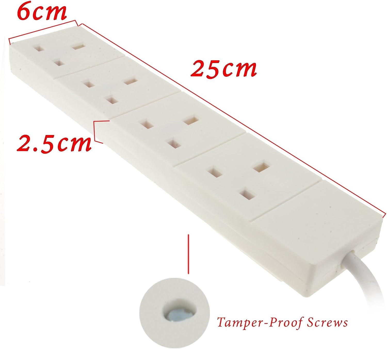 kenable 4 Gang Way UK Trailing Socket Mains Power Extension Lead Black 0.5m